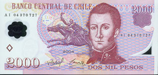 Chile P160 2000 Pesos year nd Polymer