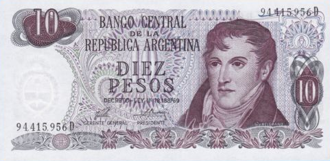 P295 Argentina 10 Pesos Year ND
