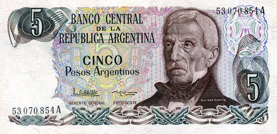 (338) Argentina P312 - 5 Pesos Year ND
