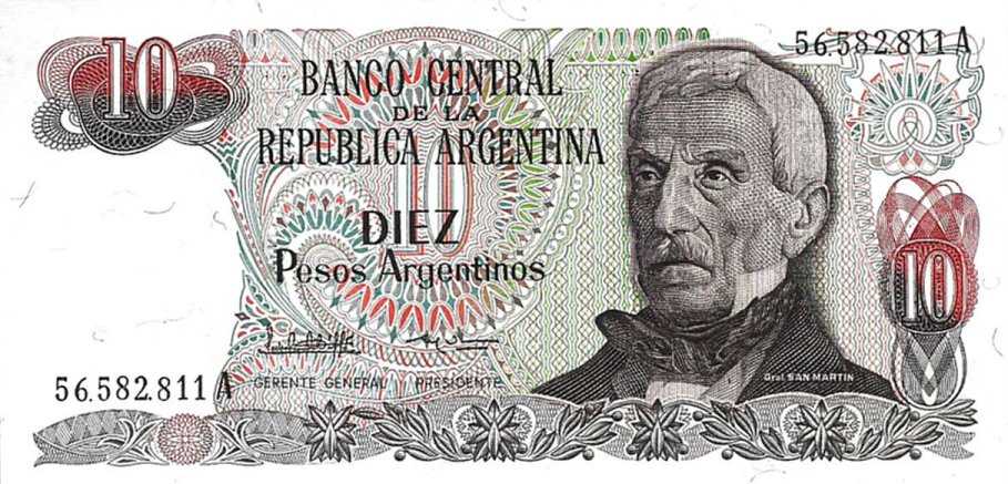 P313 Argentina 10 Pesos Year ND