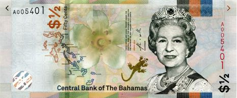 (355) ** PNew Bahamas 1/2 Dollar Year 2019