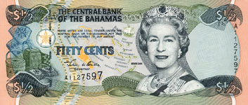 P68 Bahamas 1/2 Dollar Year 2001