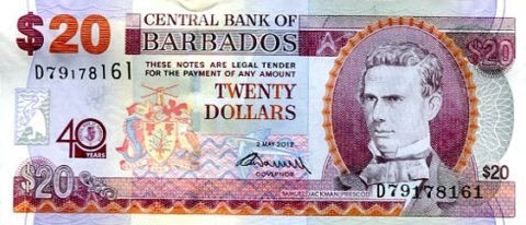P72 Barbados 20 Dollars Year 2012 (40 Years Comm.)