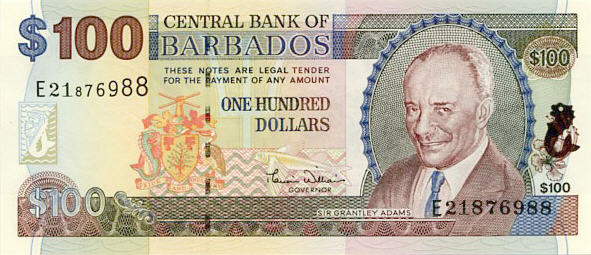 P65 Barbados 100 Dollars Year nd