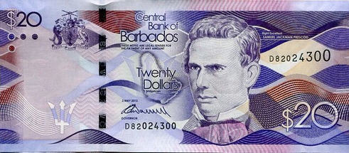 P76 Barbados  20 Dollars Year 2013