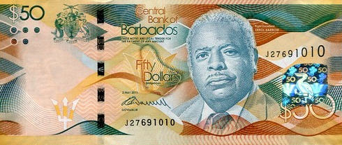 P77 Barbados 50 Dollars Year 2013