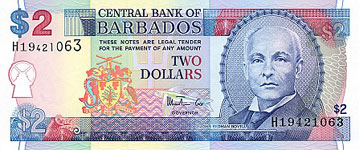P66a Barbados 2 Dollar Year 2007