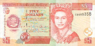 P61b Belize 5 Dollar Year 2002