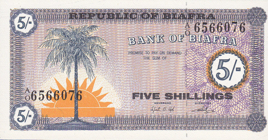 P1 Biafra 5 Shillings Year 1967