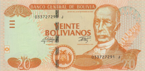 P244 Bolivia 20 Bolivianos Year ND (2015)