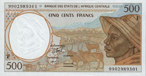 P301 F Central African Rep. 500 Francs Year 1999