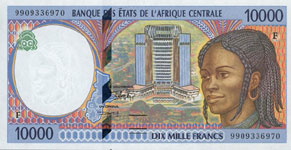 P305 F Central African Rep. 10.000 Francs Year 1999