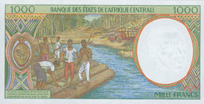 P302 F Central African Rep. 1000 Francs Year 1994/99