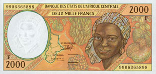 P303 F Central African Rep. 2000 Francs Year 1998/99