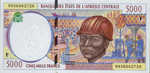 P304 F Central African Rep. 5000 Francs Year 1999