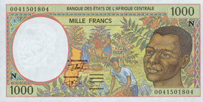 P502 N Equatorial Guinee 1000 Francs Year 1995/00