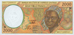 P503 N Equatorial Guinee 2000 Francs Year 1995/00