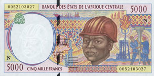 P504 N Equatorial Guinee 5000 Francs Year 1995/00