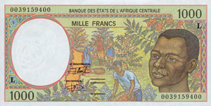 P102 C Congo Republic 1000 Francs Year 2000