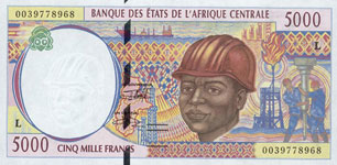 P404 L Gabon 5000 Francs Year 2000