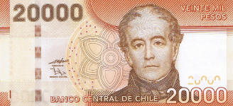 P165 Chile 20.000 Pesos year 2010
