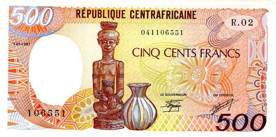 P 14c Central African Republic 500 Francs Year 1987