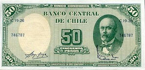 P126b Chili 5Centesimos on 50 Pesos Year ND
