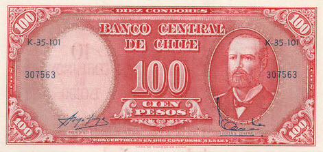 P127 Chile 10 Centesimos On 100 Pesos Year ND