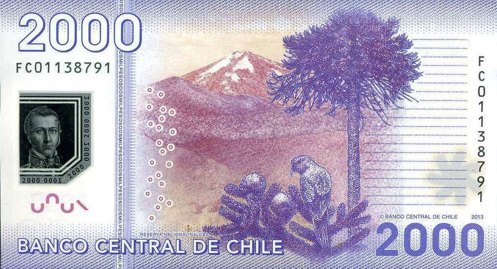 P162c Chile 2000 Pesos Year 2013