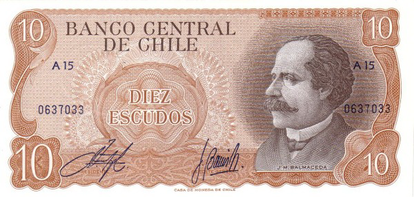 (178) Chili P143 - 10 Escudos Year ND