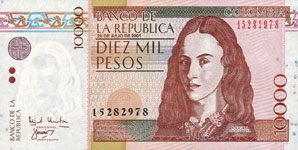 P453 Colombia 10.000 Peso Year 2002/2003/08