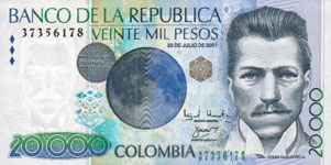 P454 Colombia 20.000 Peso Year 2003