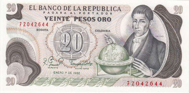 (480) Colombia P409d - 20 Pesos Year 1981 (With Brown Spots)