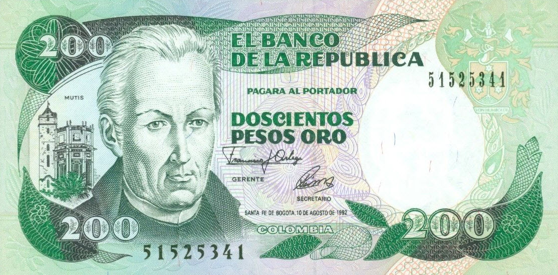 P429a Colombia 200 Pesos Year 1992