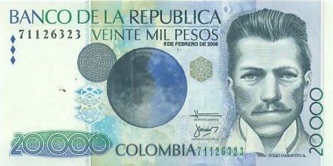 P454u Colombia 20000 Pesos (2009) with braille