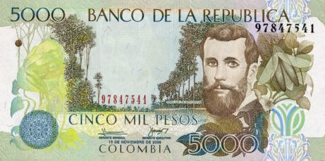 P452m Colombia 5000 Pesos (2010) with Braille