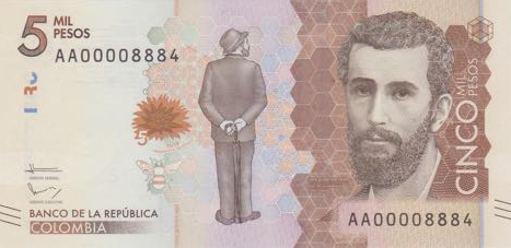 P459 Colombia 5000 Pesos Year 2016