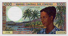 P11b Comores 1000 francs Year nd