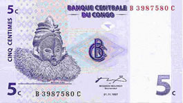 P 81 Congo Dem. Rep. 5 Centimes Year 1997