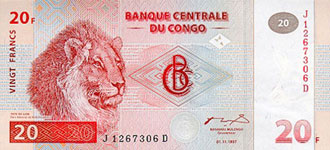 P 88A Congo Dem. Rep. 20 Francs Year 1997