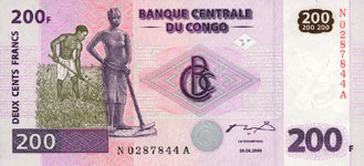 P 99 Congo Dem. Rep. 200 Francs Year 2007