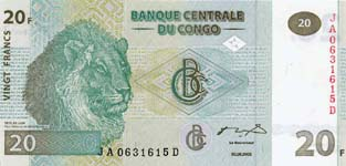 P 94A Congo Dem. Rep. 20 Francs Year 2003 GIES/HOTEL