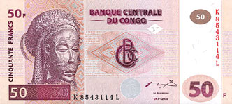 P 91 Congo Dem. Rep. 50 Francs Year 2000