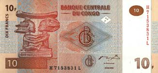 P 93 Congo Dem. Rep. 10 Francs Year 2003