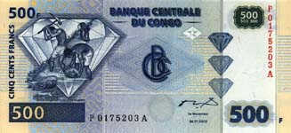 P 96 Congo Dem. Rep. 500 Francs Year 2002