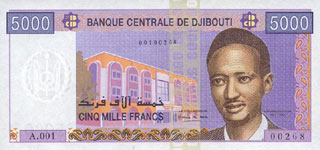 P44 Djibouti 5000 Francs Year nd (2002)