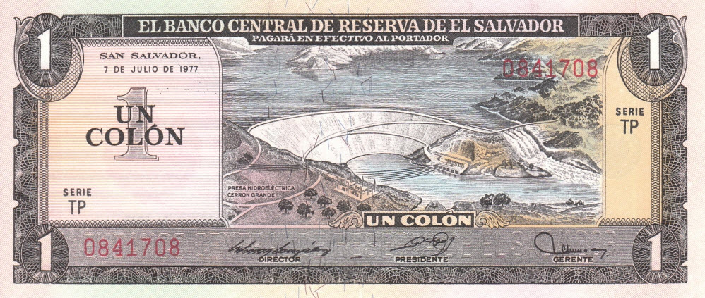 P125a El Salvador 1 Colon Year 1978