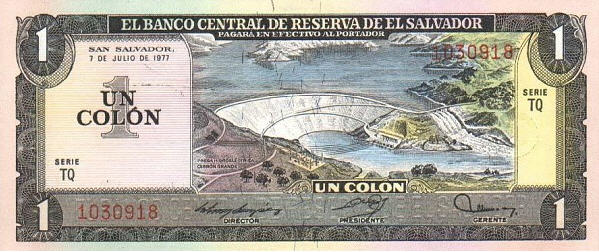 P125b El Salvador 1 Colon Year 1980