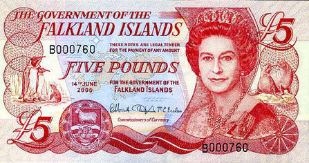 P17 Falkland Islands 5 Pounds Year 2005