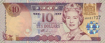 P106a Fiji Islands 10 Dollars Year nd (2002)
